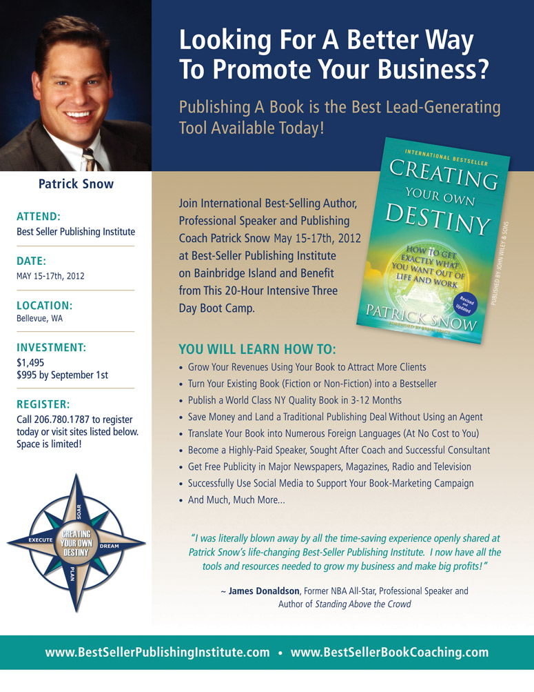 Best Seller Publishing Institute Flyer - May 15-17th, 2012